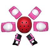 Kaiyei Niños Protecciones Skateboard 7 Piezas Conjuntos, Casco & Rodilleras & Muñequera & Coderas, Proteccion Kit para Patines Bici Skate Scooter MTB Rosa + Rojo L