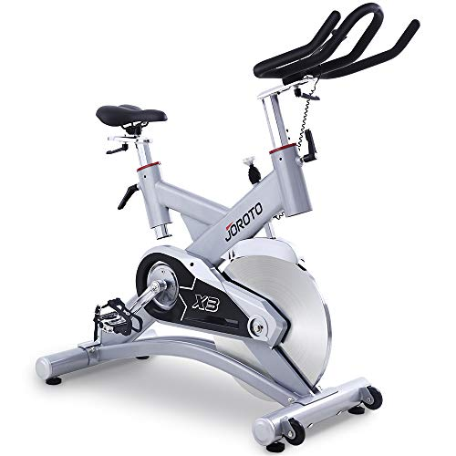 JOROTO Indoor Cycling Exercise Bike - Belt Drive Cycle 300 lb Weight Capacity Pro Workout Bicycle Stationary Bikes Machine for Home Gym X3 (Silver)