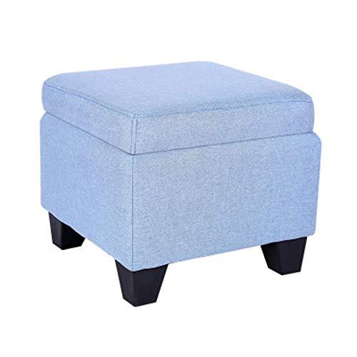 ZzheHou Taburete De Sofá Almacenamiento Otoman Box Bench Footrest Asiento Pouffe Multiusos For Dormitorio Sala De Estar O Pasillo (Color : Azul, Size : 40x40x35cm)