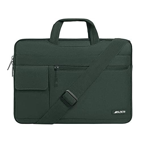 MOSISO Funda Protectora Compatible con MacBook Pro/MacBook Air/Ordenador Portátil 13-13.3 Pulgadas, Bolsa de Hombro Blanda Maletín Bandolera de Estilo Flap,Verde Medianoche
