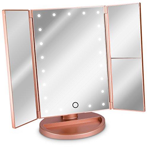 Navaris Miroir Lumineux LED 3 Faces à Poser - Miroir Maquillage Triptyque Pliable sur Pied avec Effet Grossissant x2 x3 - Pile ou USB - Rose doré