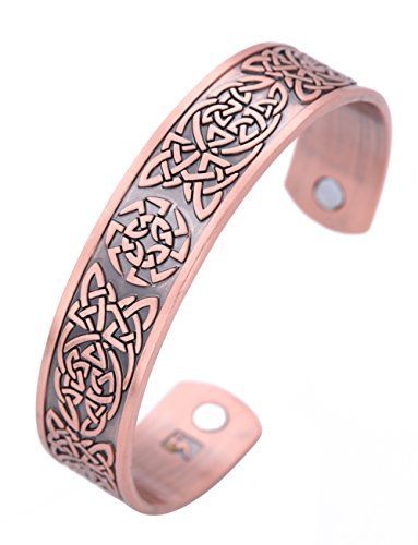 VASSAGO Pulsera magnética de amuleto antiguo vikingo, nudo celta eslavo, símbolo de Kolovrat, rueda del sol, cuidado de la salud