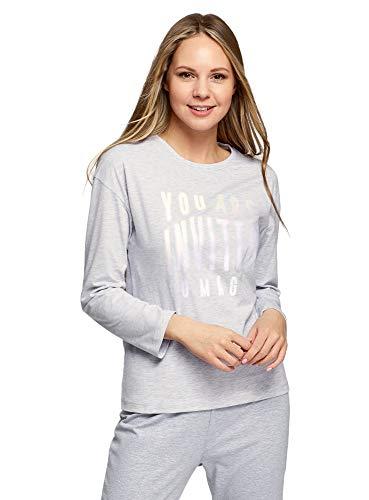 oodji Ultra Mujer Camiseta de Algodón con Mangas Largas, Gris, ES 44 / XL