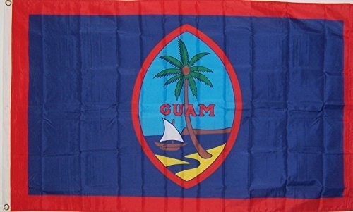3Ftx5Ft Guam Indoor Outdoor Yard Flag by 3'x5' Polyester Flag w/ Grommets for Attaching to Pole.