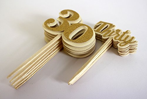 """All About Details Gold Thirty Cupcake Toppers, Set of 12, 2"""" Diameter & 4"""" Tall"""
