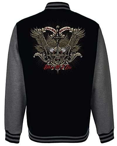 Velocitee Speed Shop Mens Varsity Jacket Biker Till I Die Live to Ride Skull Motorcycle A23597 Black XX-Large