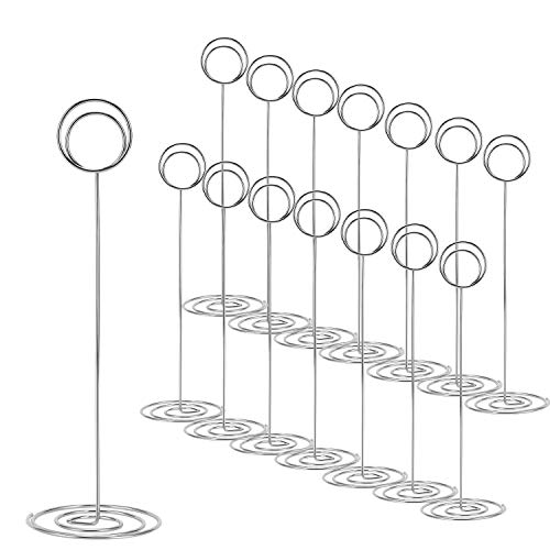 15 Pack 8.75 Inch Tall Table Number Holder, Place Card Holder, Table Picture Holder, Wire Photo Holder Clip,Menu Memo Note Stand for Weddings, Banquets