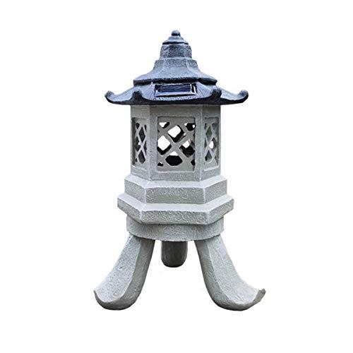 ZAT Pagoda Lantern Outdoor Statue, Large 12.6 Inch Polyresin Oriental Themed Yard Solar Garden Lamp, Seven Light Modes