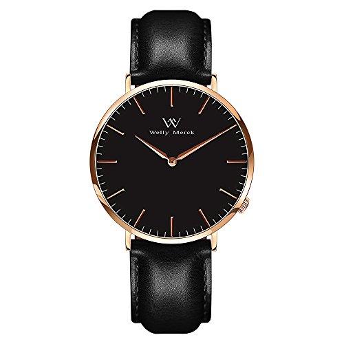 Welly Merck メンズ アナログ表示 スイスムーブメント 腕時計 本革ベルト ブラック 防水