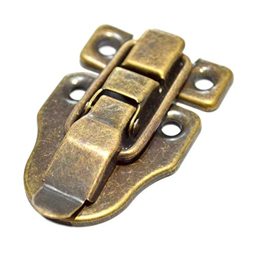 "5 Pcs Bronze Latch Hasps Decorative Vintage Locks with Hook Clasp Closure for Jewelry Case Wooden Box Chest Suitcase Briefcase (Length:2-3/8"", Width:1-5/8"")"