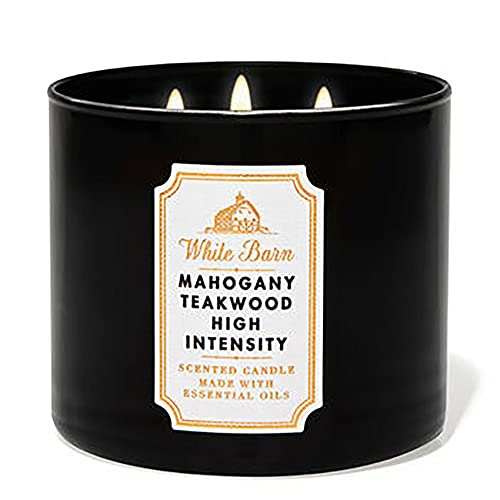 Bath and Body Works, White Barn 3-Wick Candle w/Essential Oils - 14.5 oz - 2021 Core Scents! (Mahogany Teakwood High Intensity)