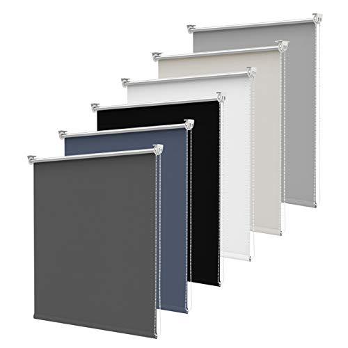 SBARTAR Verdunkelungsrollo klemmfix Thermorollo (Anthrazit 110 x 150 cm BxH) ohne Bohren/mit Bohren für Fenster und Tür,Sichtschutz & Sonnenschutz