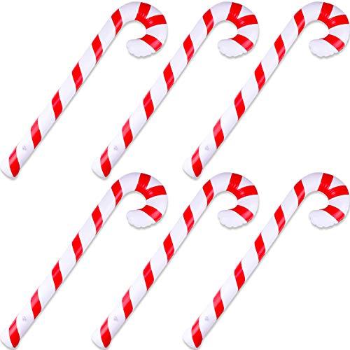 HOWAF 6er Pack aufblasbarer Zuckerstangen Zuckerstangen Neuheit Gian Zuckerstangenstab aufblasbar für Weihnachtsdekoration