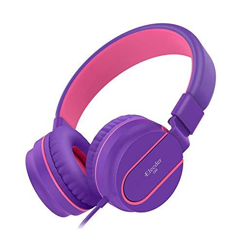 Elecder i36 Kids Headphones Children Girls Boys Teens Foldable Adjustable On Ear Headphones 3.5mm Jack Compatible Cellphones Computer Kindle MP3/4 School Tablet Purple/Red