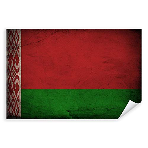 Postereck - 0338 - Vintage Flagge, Fahne Belarus Weissrussland Minsk - Unterricht Klassenzimmer Schule Wandposter Fotoposter Bilder Wandbild Wandbilder - Poster mit Rahmen - 29,0 cm x 19,0 cm