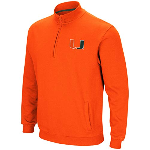 Colosseum NCAA Herren Tailgater Baumwoll-Polyfleece 1/4 Zip Pullover, Herren, Miami Hurricanes-Orange, X-Large