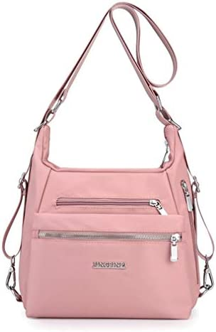 Purse Handbag for Women Nylon Casual Tote Shoulder Crossbody Hobo Bag Convertible Backpack Pink product image