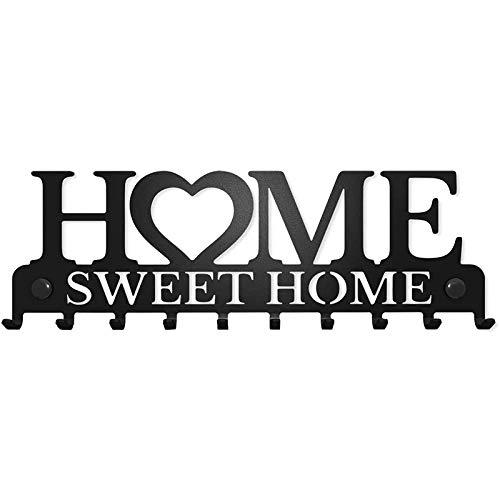 tellaLuna Soporte para llaves para montaje en pared Sweet Home Organizador Decorativo, colgador de metal para puerta delantera, tienda de cocina, casa de trabajo
