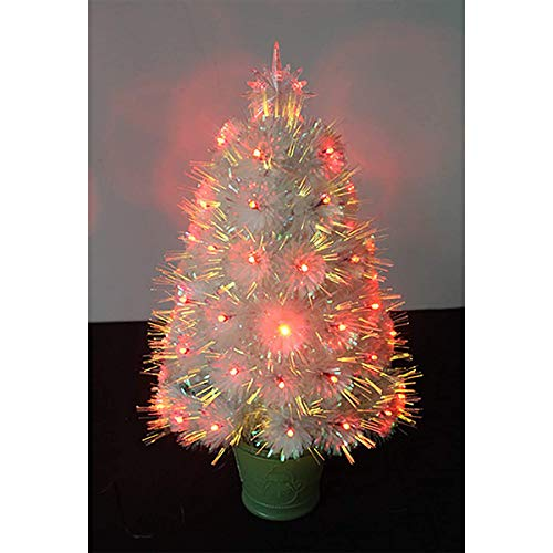 B&MF 24 Inches Pre-Bed White Fiber Optic Christmas Tree, Fir Tabletop Christmas Tree with Color-Changing LED Lights for Holiday Festival Kitchen Table