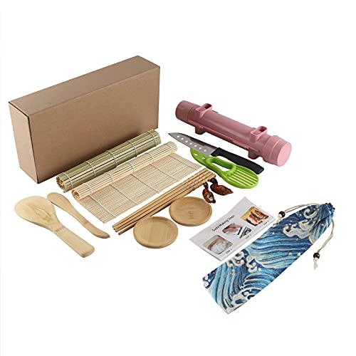 Thanice Upgraded Sushi Making Kit, 14-piece Sushi Kit Sushi Roller Machine, Sushi Bazooka Maker Set with Bamboo Mats, Easy Sushi Making Kit for Beginners
