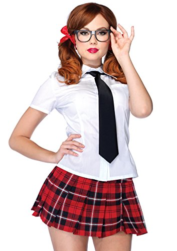 Leg Avenue 4 Piece Private School Sweetie Sexy Pleated Skirt Roleplay Uniform-Halloween Costume Set for Women, White/Red, Small