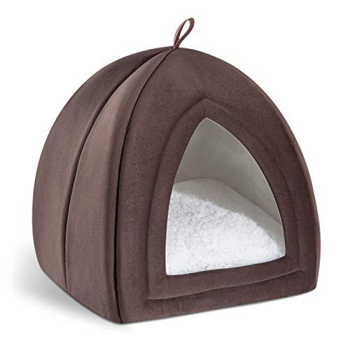 Bedsure Cama Gato Cueva Suave - Casa Gato Mediano Lavable con Cojín Desenfundable y Extraíble, Camas para Perros Pequeños 35x35x38cm, Marrón