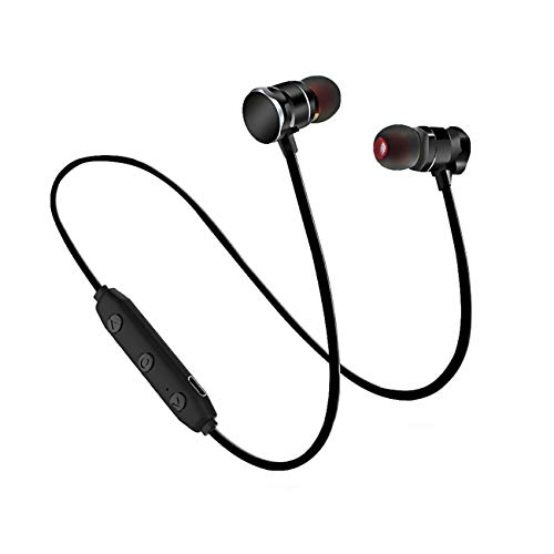 Wireless Headphones v5.0, Magnetic Sport Bluetooth Headphones w/Mic Noise Cancelling Bluetooth Earphones Compatible with iPhone/Samsung for Workout/Running/Climbing (Black)