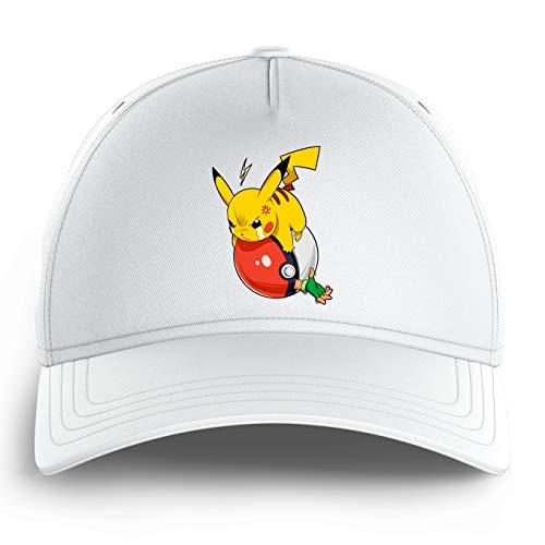 Okiwoki Casquette Enfant Blanche Parodie Pokémon - Sasha et Pikachu - Revenge !!(Casquette de qualité supérieure - Taille Unique Ajustable - imprimé en France)