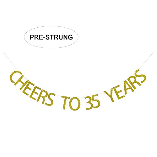 35 years blessed banner 35th birthday decor 35th anniversary 35 years loved banner cheers to 35 years banner 35th birthday gold banner