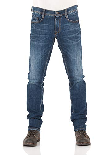 MUSTANG Herren Jeans Oregon Tapered Fit Stretch Denim Hose 99% Baumwolle Blau Grau Schwarz W30 - W40, Größe:W 38 L 30, Farbauswahl:Mid Blue Denim (1009374-883)