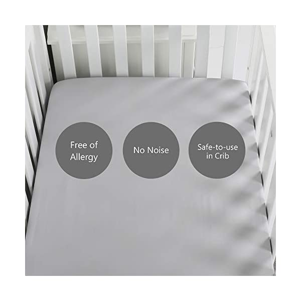 TILLYOU Silky Soft Microfiber Crib Sheet, Breathable Cozy Baby Sheets for Boys and Girls, 28 x 52in Fits Standard Crib & Toddler Mattress, Gray