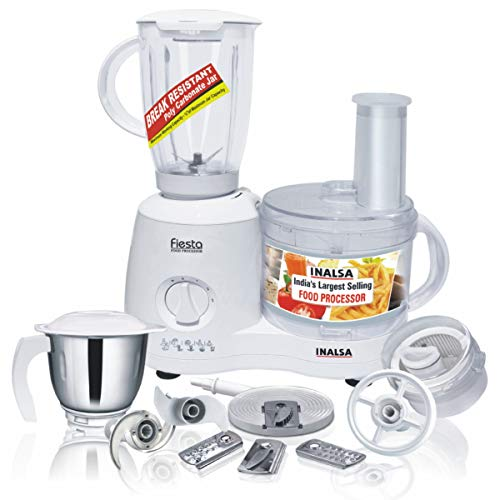 Inalsa Food Processor Fiesta 650-Watt with Break Resistant Processing Bowl, Blender, Dry Grinding...