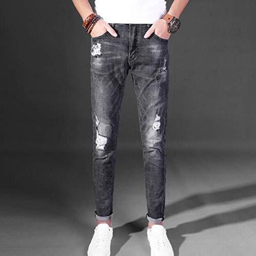 Il Gatto Casual da Lavoro in Cotone di Alta qualità da Uomo di Marca di Moda Deve Essere Grigio Jeans con Buco del Foro della personalità Taglia 28-36