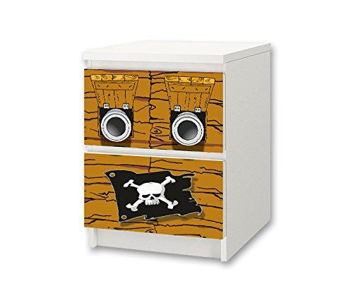 STIKKIPIX Pirater möbelklistermärke/dekal för barnkammare kommode/nattbord MALM från IKEA – NS29 – möbler ingår ej