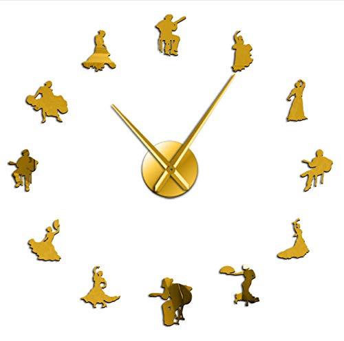 asqwq Flamenco Dance DIY acrílico Reloj de Pared Bailarina Silueta Dance Studio Wall Art decoración(Oro)