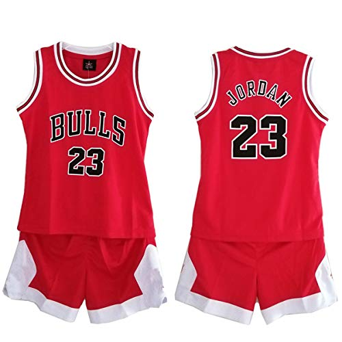 Daoseng Kind Jersey Bulls Vintage NBA-Champion Michael Jordan Jersey Chicago Bulls Nr. 23 Basketbal (ROT/Bulls, T28/Kinder Höhe 155-165CM)