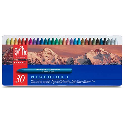 Caran D'ache Neocolor I - Juego de ceras de color (30 unidades, caja metálica)