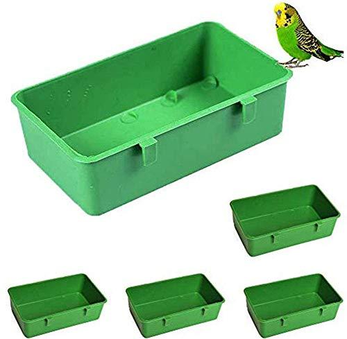 5 PCS Parrot Bañera Ducha Cause Pastel Aguaria Agua Agua Alimento Plástico Plástico Contenedor de Alimentos Multiuso Parrot Pájaro Mascota Caja de Limpieza para Varias Aves Amazing