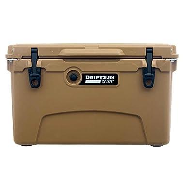 Driftsun 45 Quart Ice Chest/Heavy Duty Cooler/High Performance Commercial Grade Insulation (Tan)