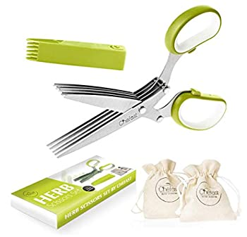 Chefast Herb Scissors Set - Multipurpose Cutting Shears with 5 Stainless Steel Blades Jute Pouches and Safety Cover with Cleaning Comb - Cutter / Chopper / Mincer for Herbs - Kitchen Gadget