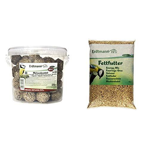 Erdtmanns 50 Meisenknödel ohne Netz im Eimer, 1er Pack (1 x 4250 gm) & Fettfutter, 1er Pack (1 x 5 kg)