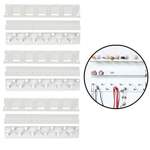 Klebehaken Schmuck Aufhänger (9 Pcs) - Wandhaken Selbstklebende Haken Schmuck Kleiderbügel - Schmuckhalter für Halskette, Ring und Ohrring