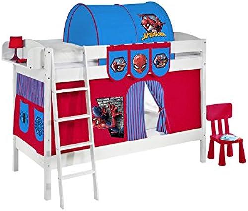 Etagenbett IDA 4105 Spiderman - Teilbares Systembett LILOKIDS - Weiß - mit Vorhang und Lattenroste