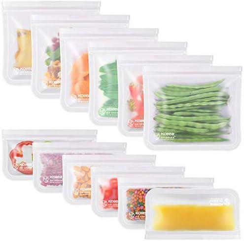 Reusable Sandwich Bags, Kollea 12 Pack Ziplock Bags (6 Sandwich Bags & 6 Snack Bags) Extra Thick Freezer Bags, Leakproof Storage Bag for Food, Travel, Home Organization