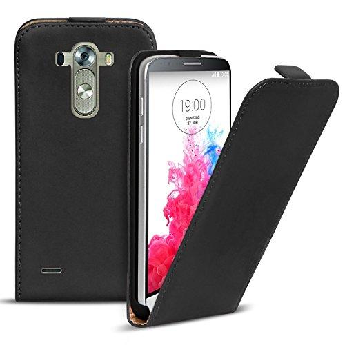 Conie BF15867 Basic Flip Kompatibel mit LG G3 S, PU Leder Hülle Cover Klapphülle für G3 S Tasche Schwarz