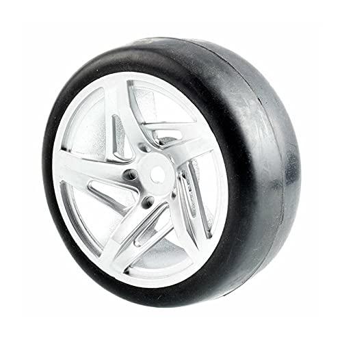 VSKTE RC RIM01-6018 Neumáticos De Racing Slick Juegos De Ruedas para HSP HPI 1/10 1.10 Auto Turístico (Color : Silver Wheel)