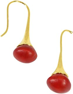 Peruvian Gift Gold Earrings for Women - Huayruro Red Seed Dangles - Natural Handmade Jewelry by Evelyn Brooks