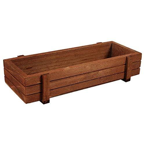 Macetero de madera, para jardín, ventana, con ventosa, para plantas, interior/exterior, rectangular, maceta con ventosa flor, contenedor de musgo, 22,5 x 8,4 x 4,1 cm, 2 Pcs