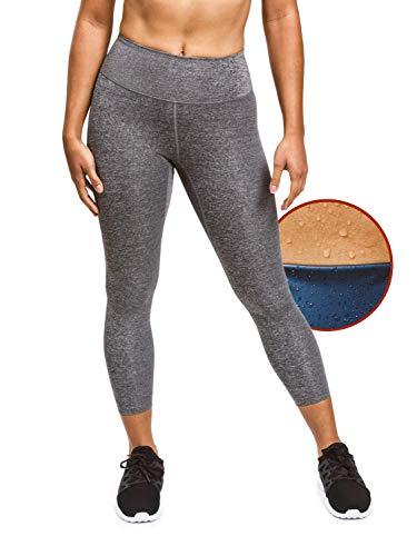Sweat Shaper Women's Sauna Leggings Compression High Waist Yoga Pants Thermo Sweat Capris (Heather Grey, XX-Large)