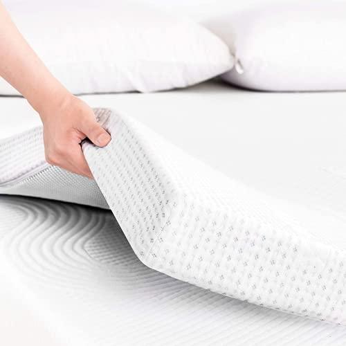 Topper Viscoelastico Nucleo 100% Viscoelastica | 120 x 190cm | Grosor 4CM | Fabricado en España | Alivia Tensiones Musculares | Sobrecolchon Desenfundable y Lavable | Transpirable y Antiacaros